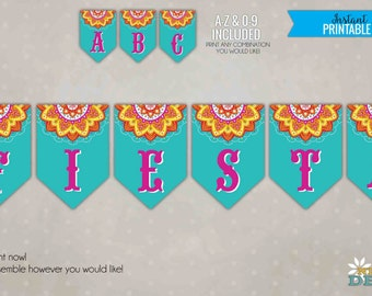 Custom Mexican Banner, DIY Fiesta Mexicana Party Decoration, Cinco de Mayo Printable Banner, All Letters #B115