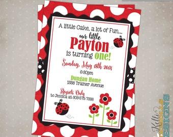 Custom Ladybug Girl's Birthday Party Invitation, Children's 1st Birthday Invite, Printable #B111
