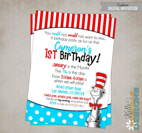 cat in the hat birthday party invitation custom dr. seuss, Birthday invitations
