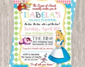 Alice in Wonderland Birthday Invitation - girl birthday, 5x7 printable JPEG PDF