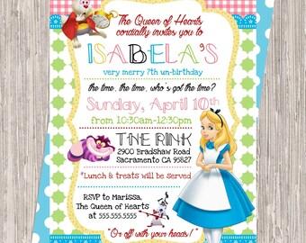 Alice in Wonderland Birthday Invitation - girl birthday, 5x7 printable JPEG PDF