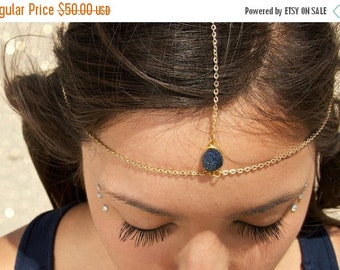 FLASH SALE Drusy Druzy quartz gold vermeil head chain. headpiece. headdress