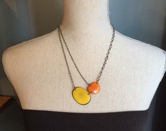 Yellow and orange asymmetrical necklace