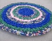 Shabby chic blue pink and green crocheted circle rag rug, eco friendly, washable, bath mat, bathroom rug, kitchen rug, home decor, floral