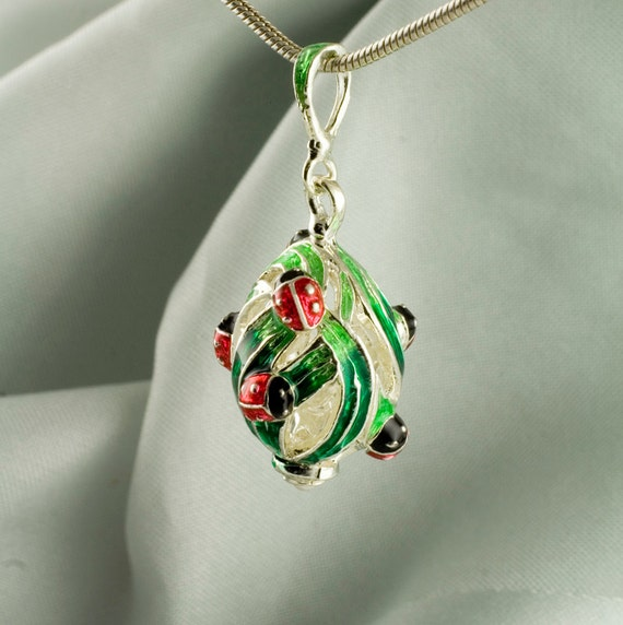 Jewelry Necklace Ladybugs on Leaves Sterling Silver Pendant Egg Red and Green Enamel Summer Gift for Her