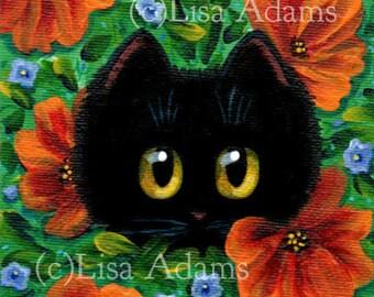 Black Cat Wall Art Painting on 4x4 Canvas Orange Blue Floral Flowers Creationarts