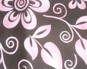 Cotton Tropical Floral Pinks on Black Fabric by Fabric Traditions