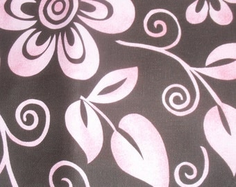 Cotton Fabric in Tropical Floral Pinks on Black Fabric by Fabric Traditions