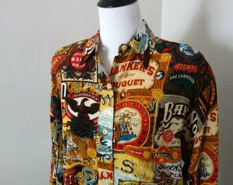 Vintage Ellen Tracy Blouse, Company Ellen Tracy Vintage 1990s Silk Blouse with Liquor Bottle and Cigar Box Label Design, 90s Shoulder Pads!