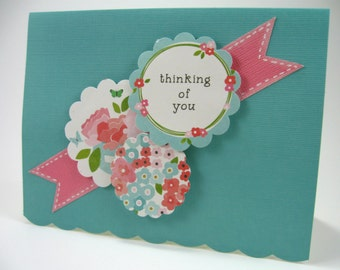 Thinking of You Flowers & Friendship Encouragement Card Inked Fishtail Banner Scalloped Edge