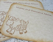 """Baby lamb wish cards Baby shower advice cards Neutral gender 4"""" x 3"""" set of 12"""