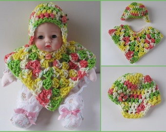 Huggums Poncho and Ear Flap Hat, Huggums Crochet Outfit, Yellow, Green, White, Coral Baby Doll Clothes,  2 Pc. Cotton Crochet Doll Clothes