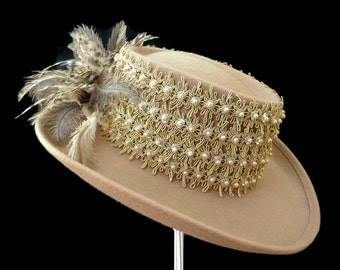 "Women's Golf Hat, Gambler Golf Hat, Wool Felt Hat, Ladies Golf Hat in Tan Tones - ""ACE"""