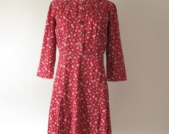Vintage 1930s Day Dress - Cotton - Leaves - 30s Dress