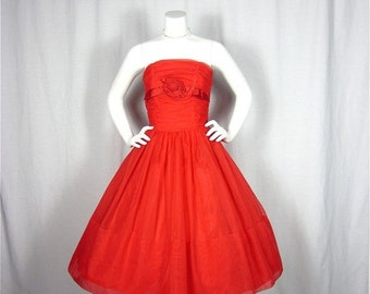 50% Off Sale Vintage 50s Smokin Hot Red Dress, Sz S, M