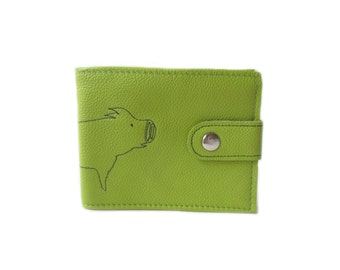 leather billfold wallet lime pig folding coin wallet embroidery animal