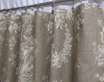 "French Country Curtains, Neutral Toile Drapes, Linen-Colored Window Curtains, Shabby Chic, French Chic, Rod-Pocket, One Pair 50""W"