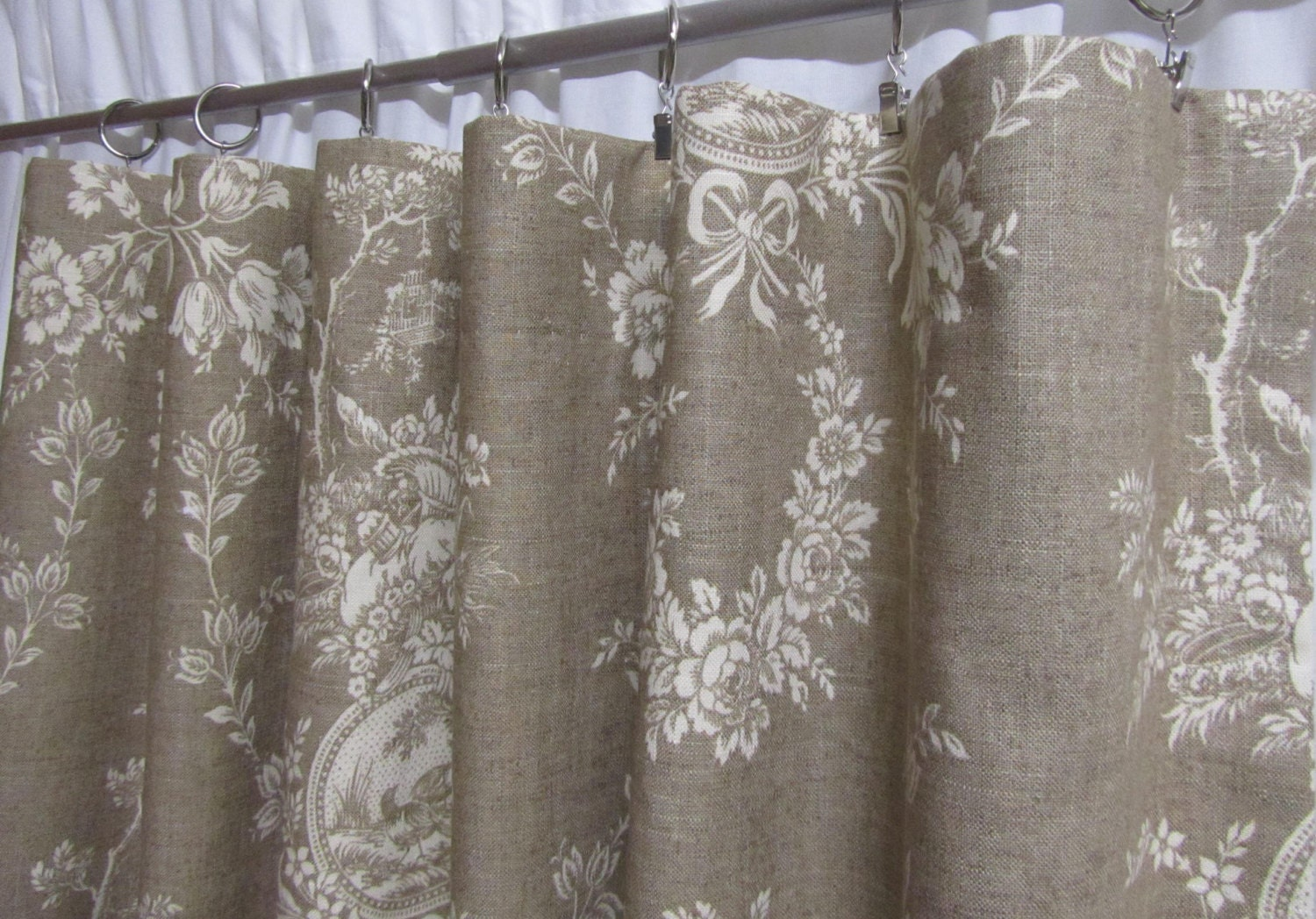 Black toile shower curtain - French Country Curtains Neutral Toile Drapes Linen Colored Window Curtains Shabby Chic French Chic Rod Pocket One Pair 50 W