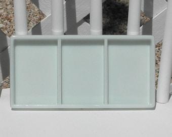 Dental Tray Vintage Milk Glass American Cabinet 0836 Vanity Drawer Cosmetics Craft Organizer Beading Tray Three Section