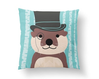 Otter Pillow, Woodland Nursery, Kids Animal Pillow, Woodland Animal Throw Pillow, Hermione Granger Patronus Animal // N-XW18-1PW AA1