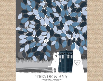 TARDIS Wedding Guestbook, Dr Who Wedding, Unique Wedding Guestbook, Custom Skyline Silhouette, Wedding Signature Tree  / W-T05-1PS HH3 03P