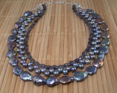 Peacock Pearl Necklace Blue Purple Pearl Multistrand Statement Blue Iolite Gemstone Tiered Necklace Rainbow Freshwater Pearl Convertable