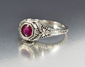 Ruby Engagement Ring, Ruby Ring, Sterling Silver Filigree Gemstone Ring, July Birthstone Edwardian Engagement Ring Promise Girlfriend Gift