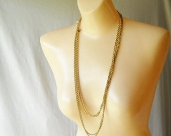 Vintage Napier Necklace Long Gold Tone Necklace Chain Necklace Double Strand Necklace