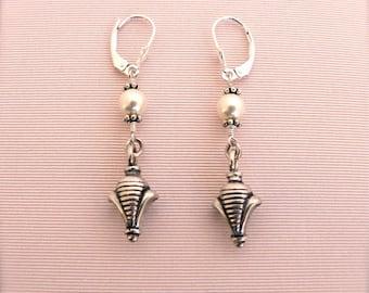 Pearl Earrings, Fleur De Lis Pearl Earrings, Drop Earrings, Sterling Silver Earrings, Wedding Earrings, Bridal Earrings, Queen Earrings