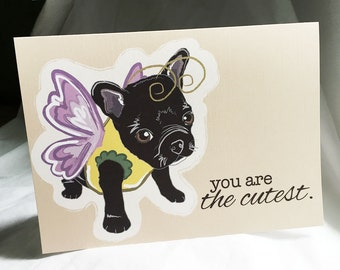 French Bulldog Butterfly Greeting Card