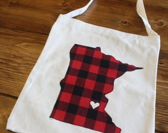 Minnesota Love Tote Bag, State Tote Bag, Minnesota State Gift, Birthday Gift, Buffalo Plaid, Teacher Appreciation Gift, Ready to Ship Gift