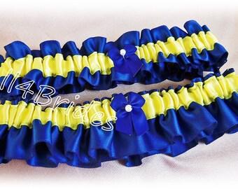 Weddings bridal garters Cobalt Blue and Yellow keepsake and toss garter set.
