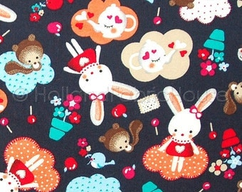 Cotton fabric, kids fabric, bunny fabric, animal fabric, Dutch fabric, Bunny Tea Time fabric, cute fabric