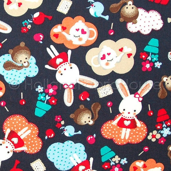 Cotton fabric kids fabric bunny fabric animal fabric dutch for Cotton fabric for children s clothes