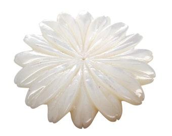 Mother of Pearl Pendant, Flower Pendant, 45mm, Focal Piece, SKU 3808