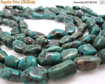 SALE Turquoise Nugget, Turquoise Beads, Green Blue Turquoise, Pebbles, December Birthstone, SKU 4531A