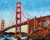 Golden Gate Bridge San Francisco Painting Art Print  Cityscape poster Painting by Gwen Meyerson