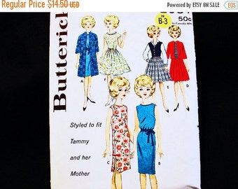 SALE 25% Off 12 inch Doll Clothes Pattern Tammy Teenage Doll Wardrobe 1960s Dolls Vintage Sewing Pattern fits Tammy and her Mother