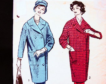 Vintage Sewing Pattern 1950s size 12 Advance Pattern Womens Suit, Knee Length Shawl Collar Coat with Skirt Pattern UNCUT