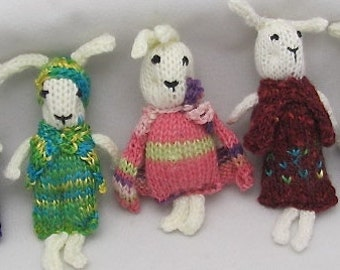 Onsale Knitted Rabbits. Rabbit Tree Ornament. Bunny Family. Bunny Pocket Pals. Knitted Gift. Rabbit Toy. ONSALE.
