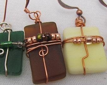 Wholesale Earrings.Recycled Glass Earrings. Upcycled Glass Earrings.Set of 5.