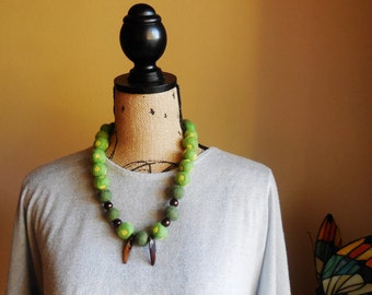 Necklace..Hand Felted Beads..Merino Wool Felted Beads..Modern Necklace..Soft Pastel Green Color Necklace..Brown Sea Shell and Glass beads