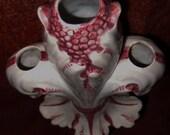 Italian Majolica Pomegranate Vase vintage pottery white triple fleur de lis