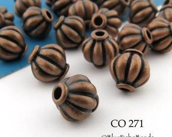 8mm Antique Copper Melon Bead (CO 271)  14 pcs BlueEchoBeads
