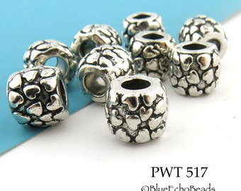 10mm Large Hole Pewter Beads Many Hearts Antique Silver (PWT 517) 6 pcs BlueEchoBeads