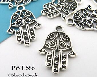 20mm Hamsa Charm Hand of Fatima Charm, Spiritual Charm, Pewter (PWT 586) 8 pcs BlueEchoBeads