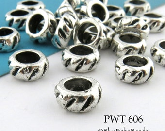 8mm Large Hole Beads Thick Ring Bead (PWT 606) 15 pcs BlueEchoBeads