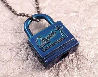 Blue Padlock Beverly Hills Powdercoat Necklace KP1603-TAC160