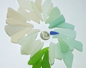 Pastel Peacock Tail GENUINE SEA GLASS Lot of 32  / P96