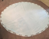 Vintage 60 inch round cotton/linen tablecloth